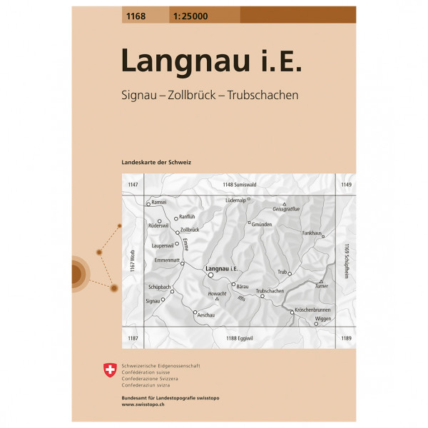 Swisstopo -  1168 Langnau i. E - Vaelluskartat