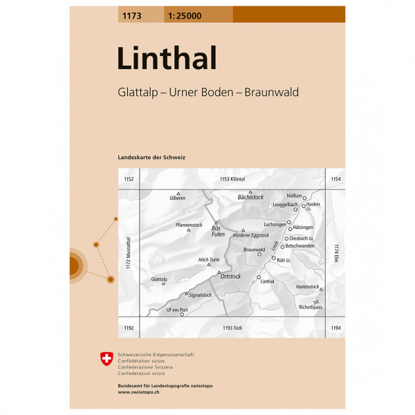 Swisstopo -  1173 Linthal - Hiking map