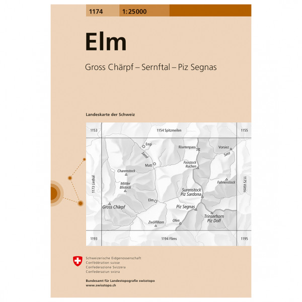Swisstopo -  1174 Elm - Hiking map