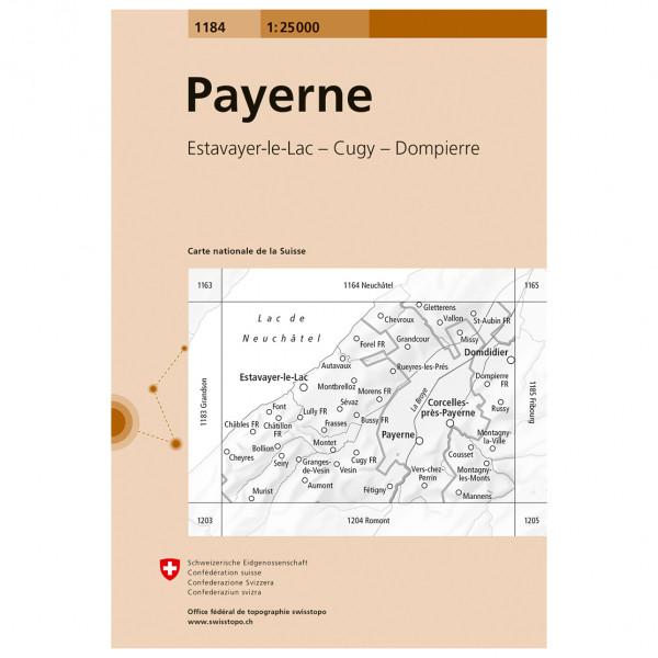 Swisstopo -  1184 Payerne - Vandrekort