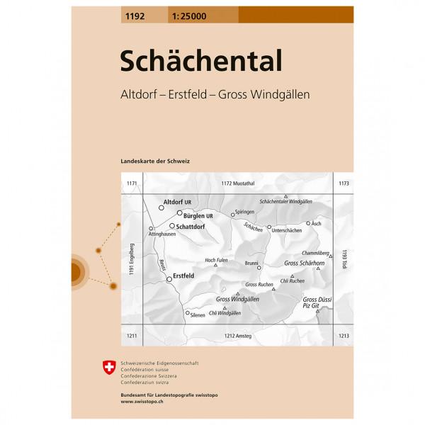 Swisstopo -  1192 Schächental - Vandringskartor