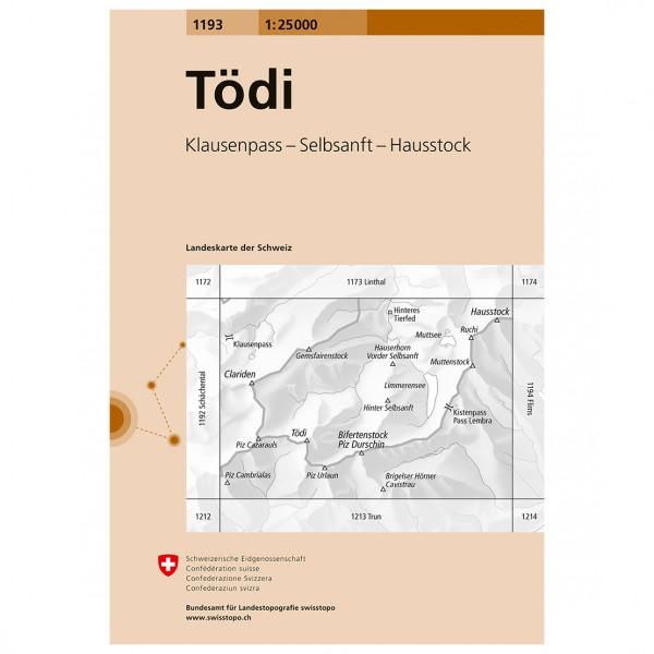Swisstopo -  1193 Tödi - Vandrekort