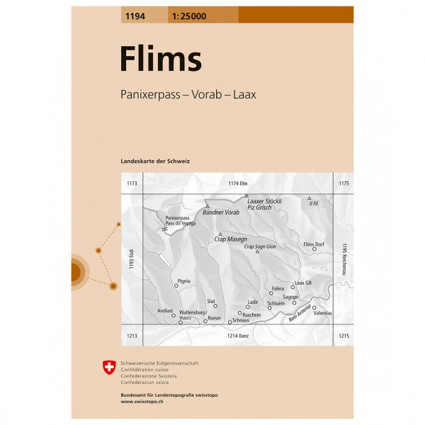Swisstopo -  1194 Flims - Hiking map