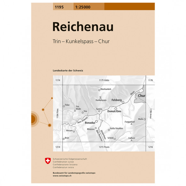 Swisstopo -  1195 Reichenau - Wandelkaart