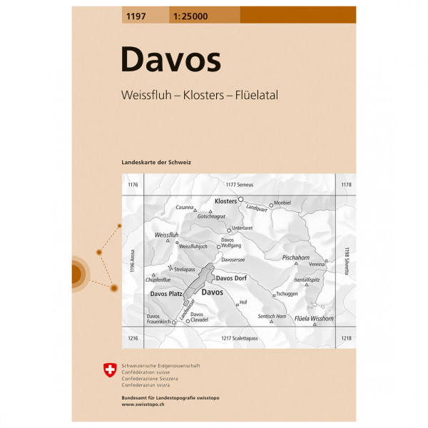 Swisstopo - 1197 Davos - Vandrekort