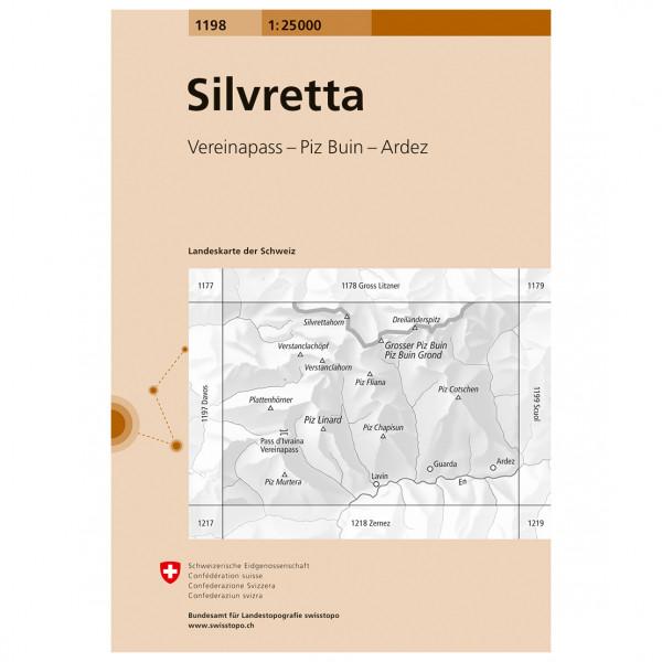Swisstopo -  1198 Silvretta - Mapa de senderos