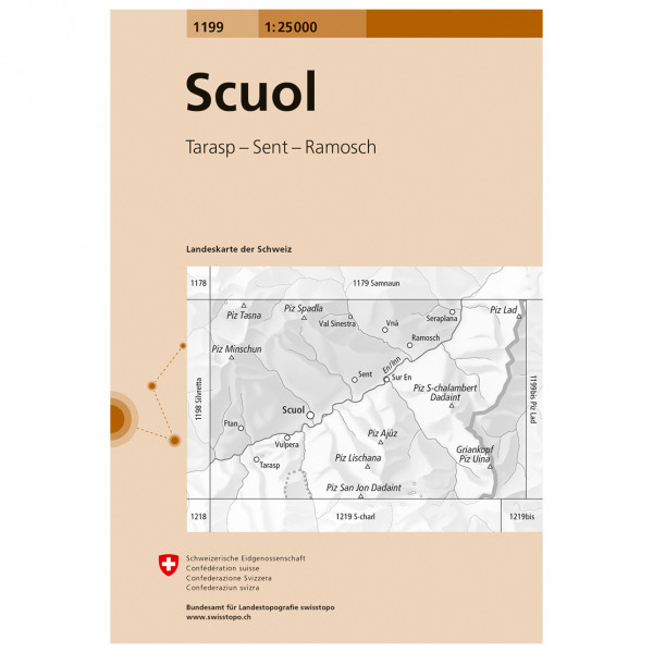 Swisstopo - 1199 Scuol - Hiking map