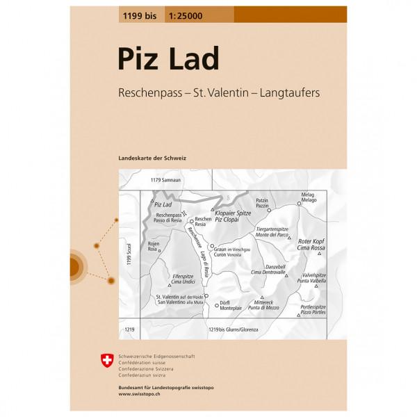 Swisstopo -  1199 bis Piz Lad - Carta escursionistica
