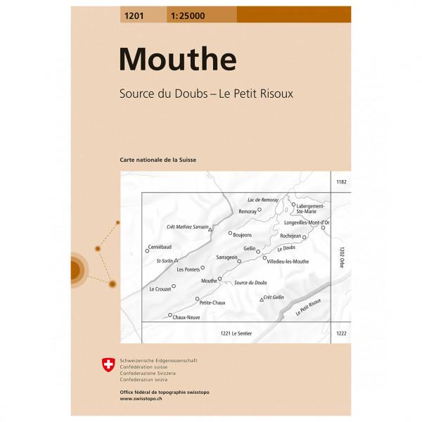 Swisstopo -  1201 Mouthe - Mapa de senderos