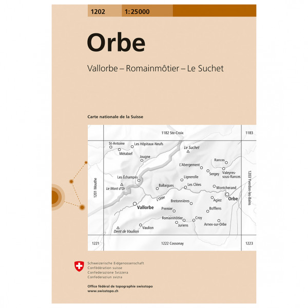 Swisstopo -  1202 Orbe - Vandringskartor