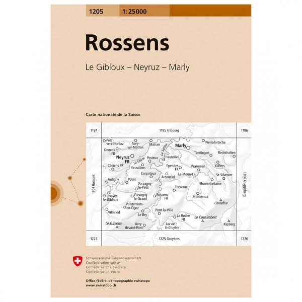 Swisstopo -  1205 Rossens - Vaelluskartat