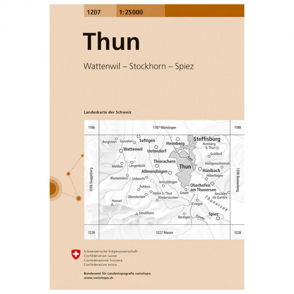 Swisstopo -  1207 Thun - Mapa de senderos