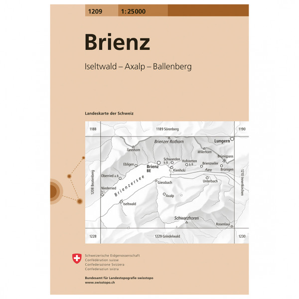 Swisstopo -  1209 Brienz - Wandelkaarten