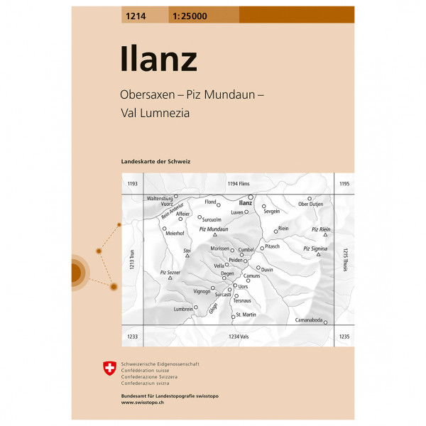 Swisstopo -  1214 Ilanz - Hiking map