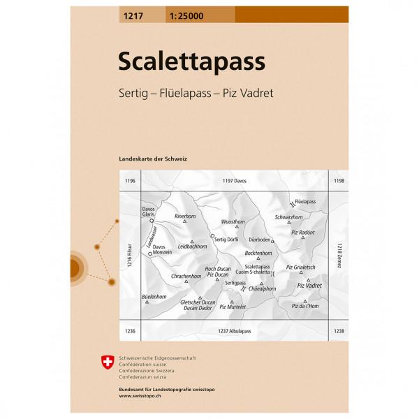 Swisstopo - 1217 Scalettapass - Carte de randonnée