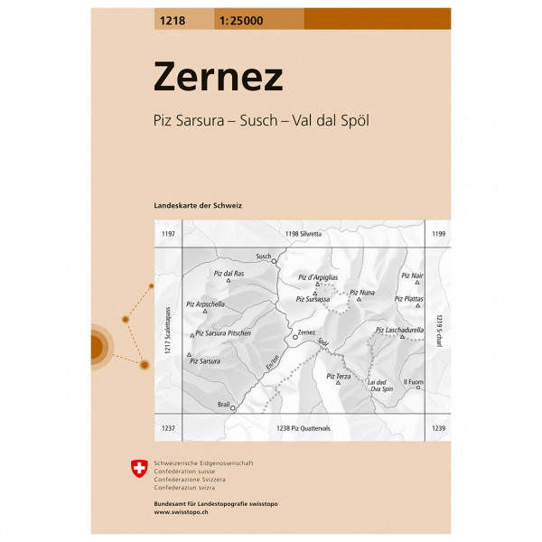Swisstopo -  1218 Zernez - Vaelluskartat