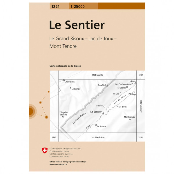 Swisstopo -  1221 Le Sentier - Hiking map