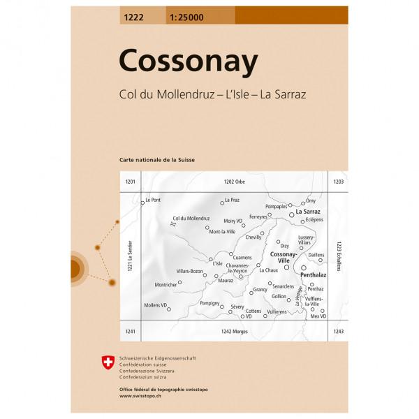 Swisstopo -  1222 Cossonay - Mapa de senderos