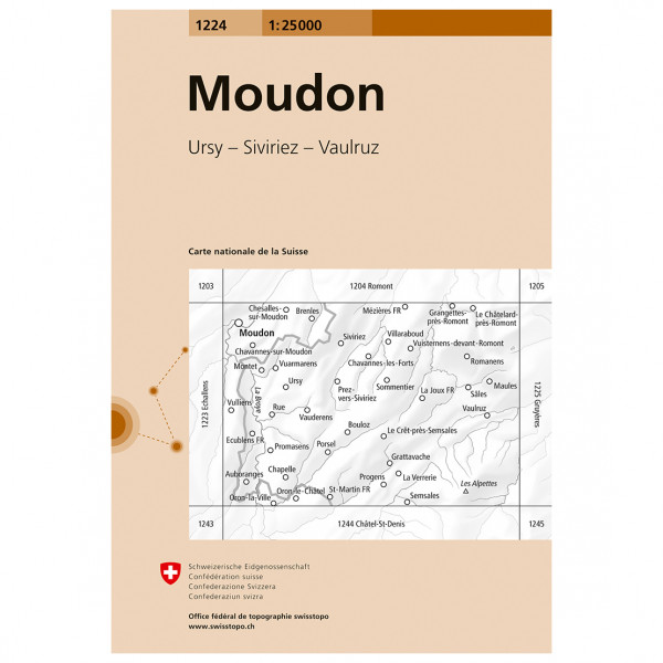 Swisstopo -  1224 Moudon - Vandringskartor