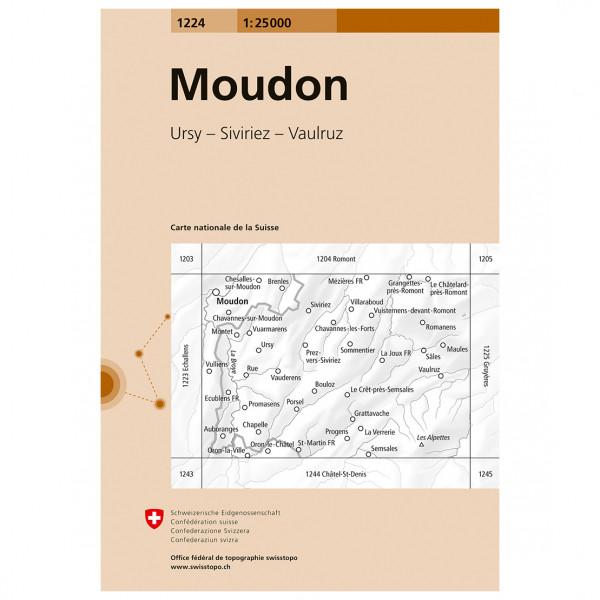 Swisstopo -  1224 Moudon - Wandelkaarten