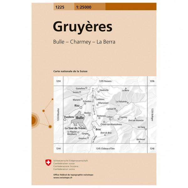 Swisstopo -  1225 Gruyères - Mapa de senderos