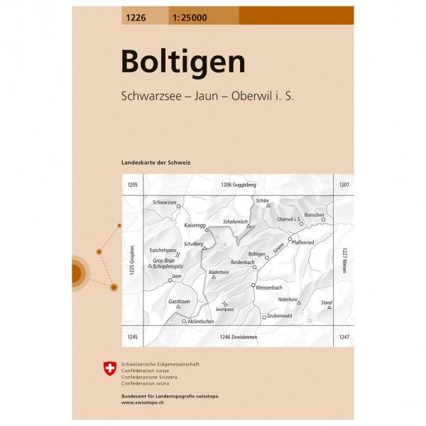 Swisstopo -  1226 Boltigen - Mapa de senderos