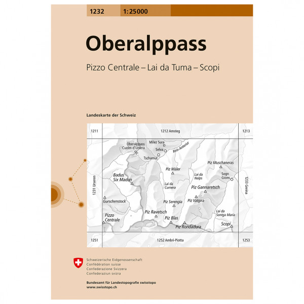 Swisstopo - 1232 Oberalppass - Vaelluskartat