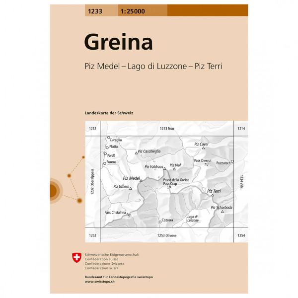 Swisstopo -  1233 Greina - Mapa de senderos