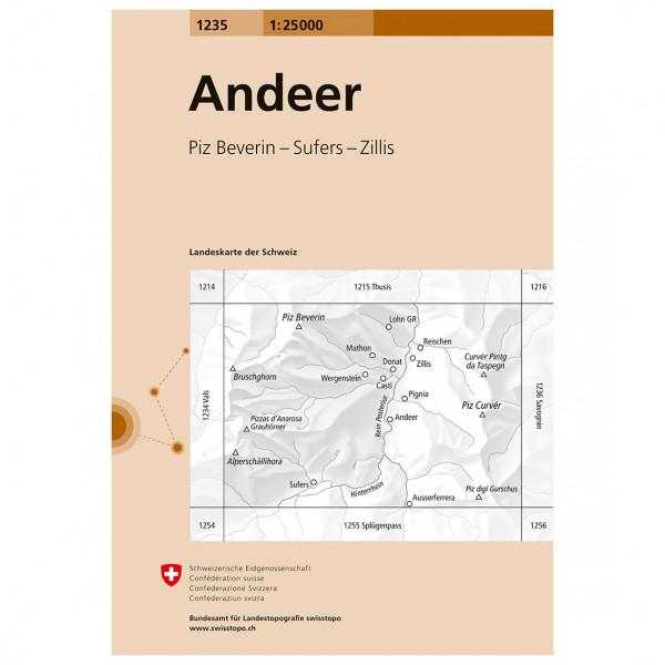 Swisstopo -  1235 Andeer - Hiking map