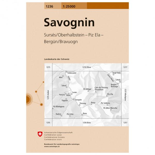 Swisstopo -  1236 Savognin - Vaelluskartat