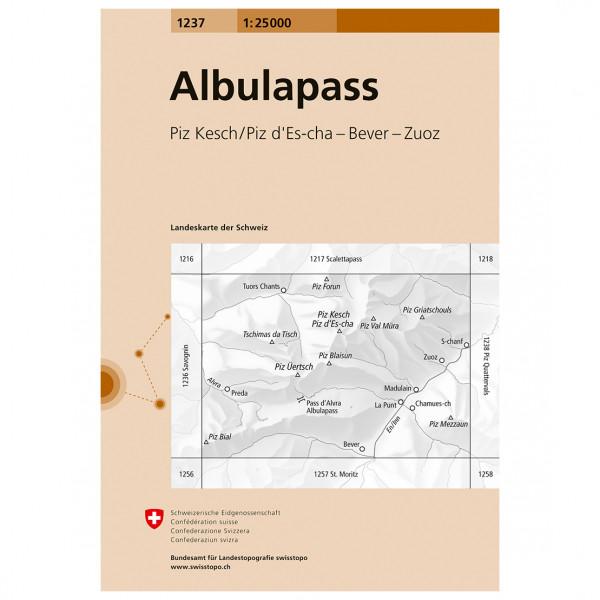 Swisstopo -  1237 Albulapass - Vandrekort