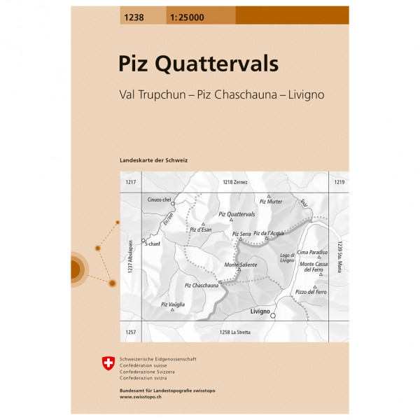 Swisstopo -  1238 Piz Quattervals - Hiking map