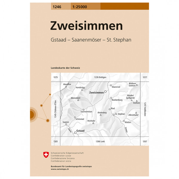 Swisstopo -  1246 Zweisimmen - Hiking map