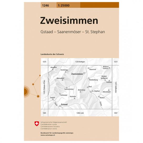 Swisstopo -  1246 Zweisimmen - Vandrekort