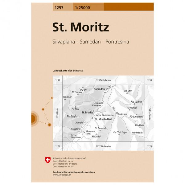 Swisstopo -  1257 St. Moritz - Hiking map