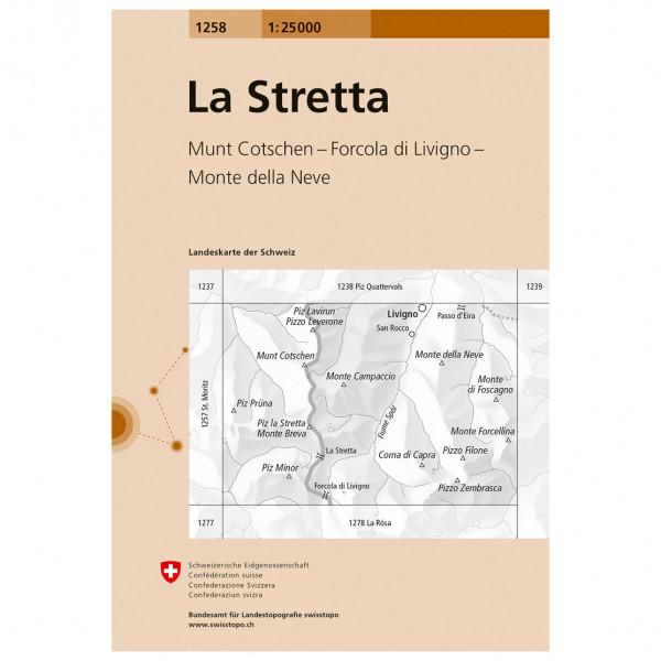 Swisstopo -  1258 La Stretta - Wandelkaarten