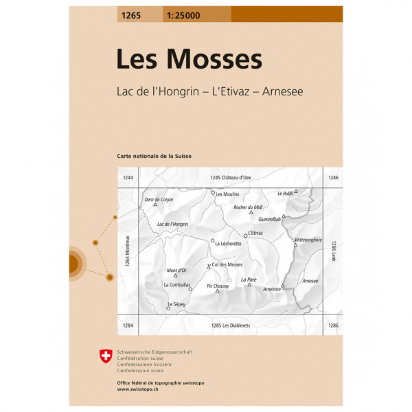 Swisstopo -  1265 Les Mosses - Carte de randonnée