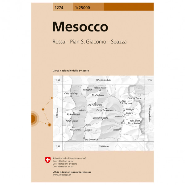 Swisstopo -  1274 Mesocco - Hiking map