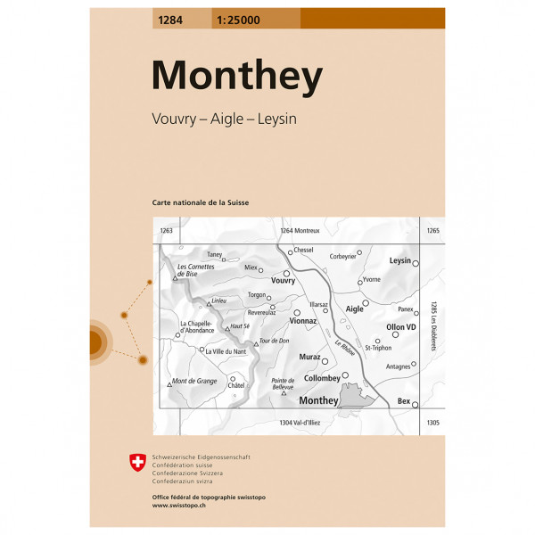 Swisstopo -  1284 Monthey - Vaelluskartat