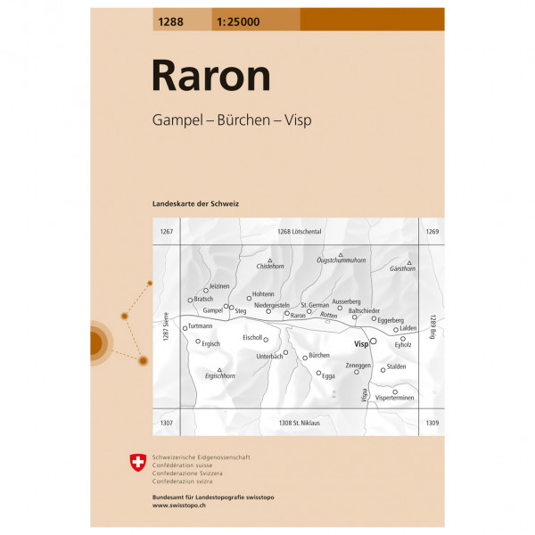 Swisstopo - 1288 Raron - Wanderkarte