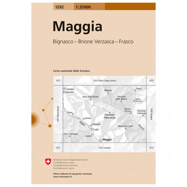 Swisstopo -  1292 Maggia - Wandelkaart