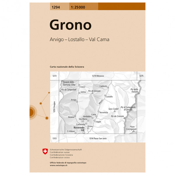 Swisstopo -  1294 Grono - Vandringskartor