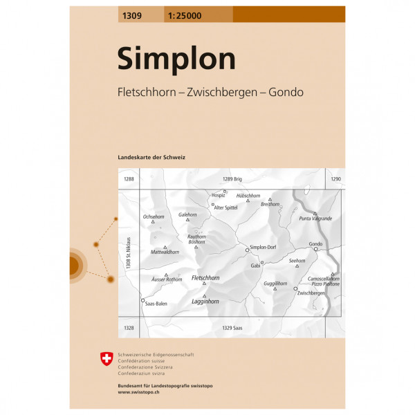 Swisstopo -  1309 Simplon - Hiking map