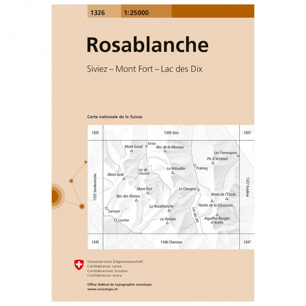 Swisstopo -  1326 Rosablanche - Wanderkarte
