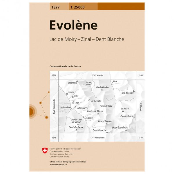 Swisstopo -  1327 Evolène - Mapa de senderos