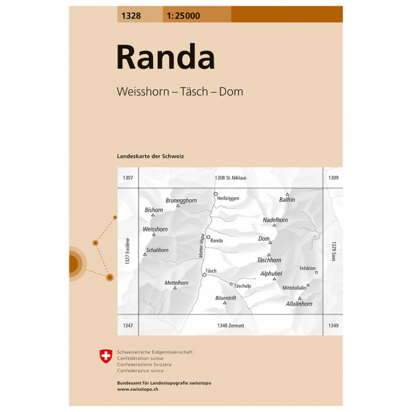 Swisstopo -  1328 Randa - Vaelluskartat