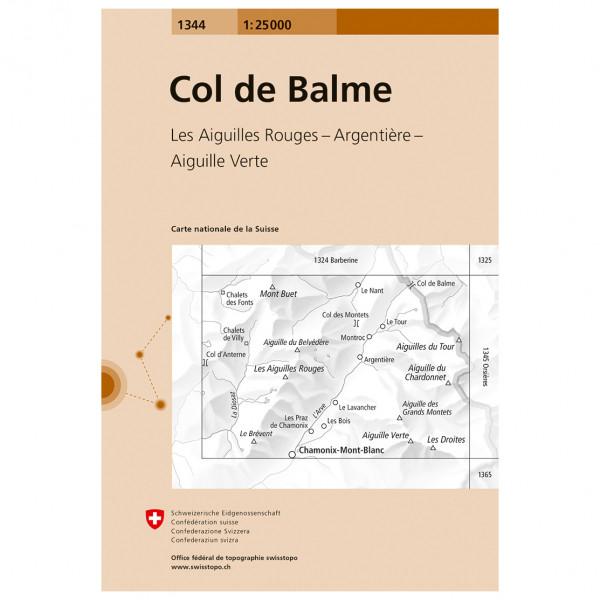 Swisstopo -  1344 Col de Balme - Vaelluskartat
