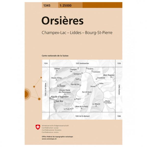 Swisstopo -  1345 Orsières - Wandelkaarten