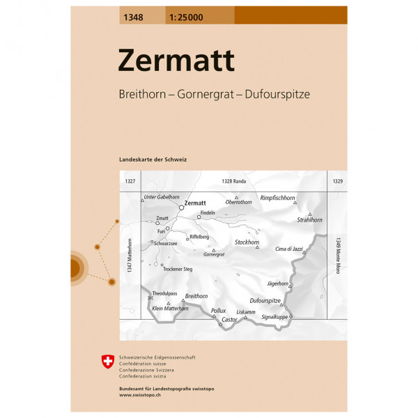 Swisstopo - 1348 Zermatt - Carte de randonnée