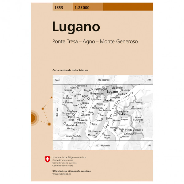 Swisstopo -  1353 Lugano - Hiking map